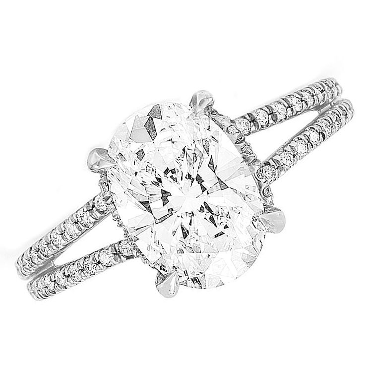 GIA Certified Oval Cut Diamond Engagement Ring 2.00ct Split Shank 18k White Gold #HellzenburgDiamondCo #SolitairewithAccents