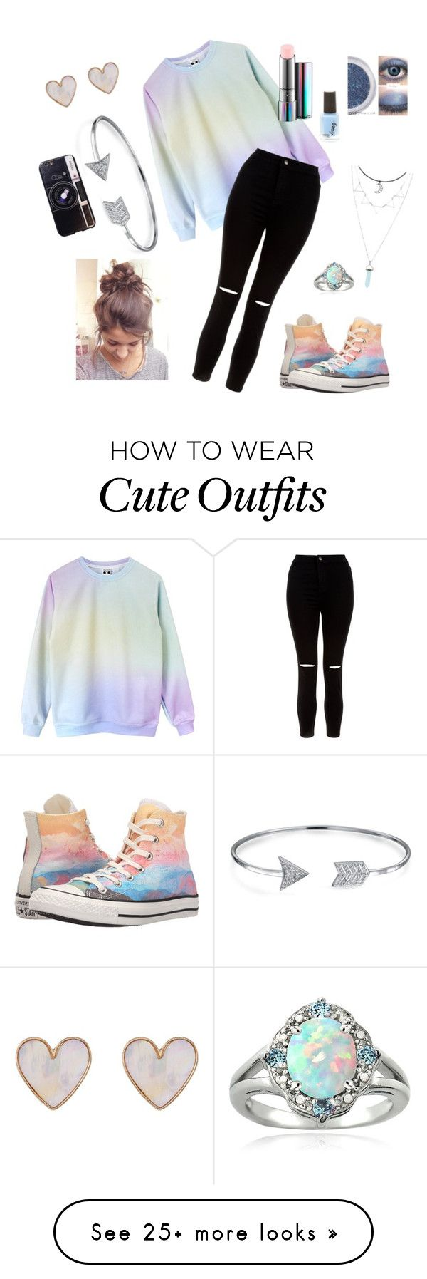 """""""Pastel & Black Outfit"""" by brookisnotonfire on Polyvore featuring New Look, Converse, MAC Cosmetics, Bling Jewelry, Glitzy Rocks and Chicnova Fashion"""