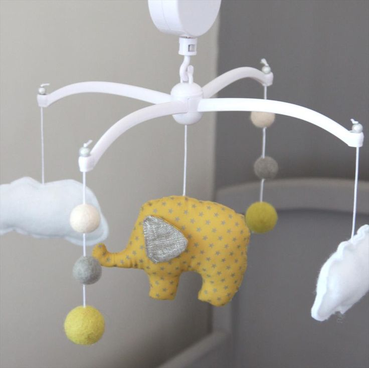 Musical Mobile - Elephant and yellow pompons