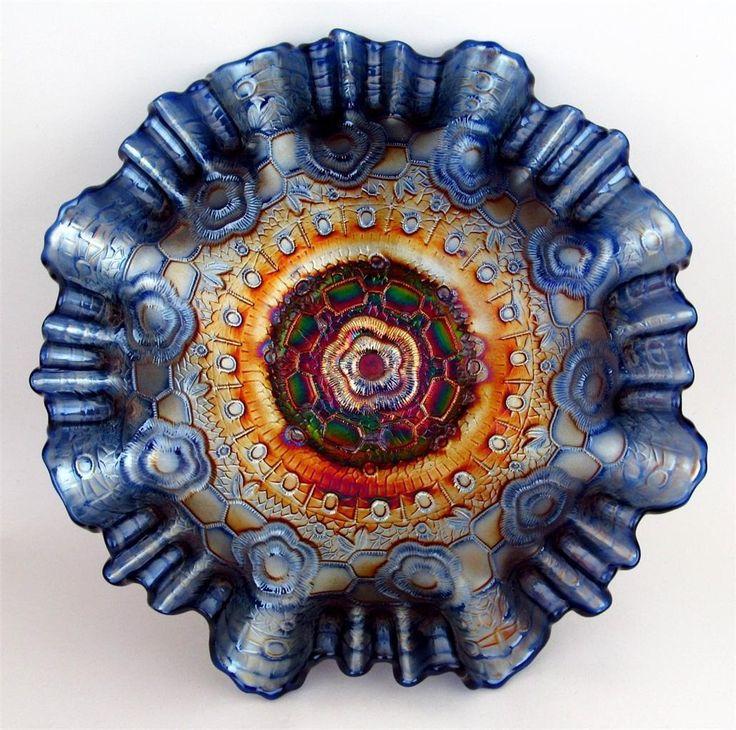 "Captive Rose by Fenton Splendid Blue Carnival Glass 9"" 3 in 1 Edge Bowl   eBay"