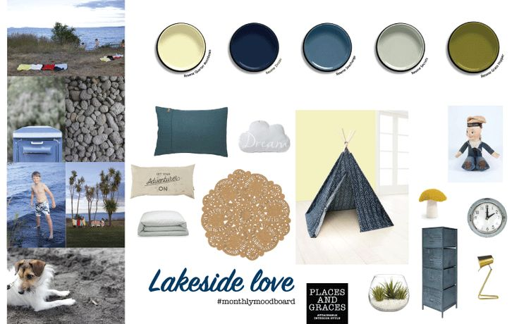 This fun kids bedroom is about the deep blue lake, bitter green grass and chalky grey pumice. A moodboard inspired by summer at the lake. #interiorstyling #moodboard #interiordesign #kidsbedroom http://blog.placesandgraces.com/
