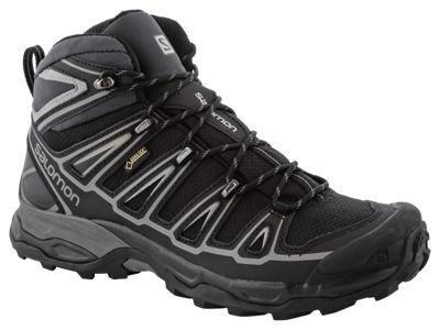 Salomon X Ultra Mid 2 GTX GORE-TEX Hiking Boots for Men - Black/Black/Aluminum - 10.5 M