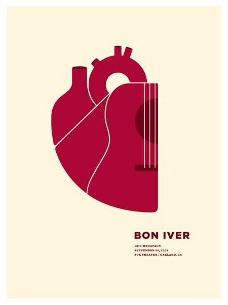 perfectly simple Bon Iver gig poster