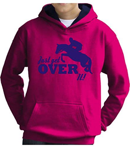 TWO TONE Hot Pink/Navy Hoodie 'JUST GET OVER IT' with Pearlescent Blue Print.