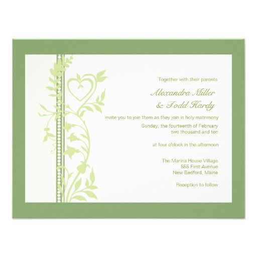 Green Hearts and Vines Wedding Invite