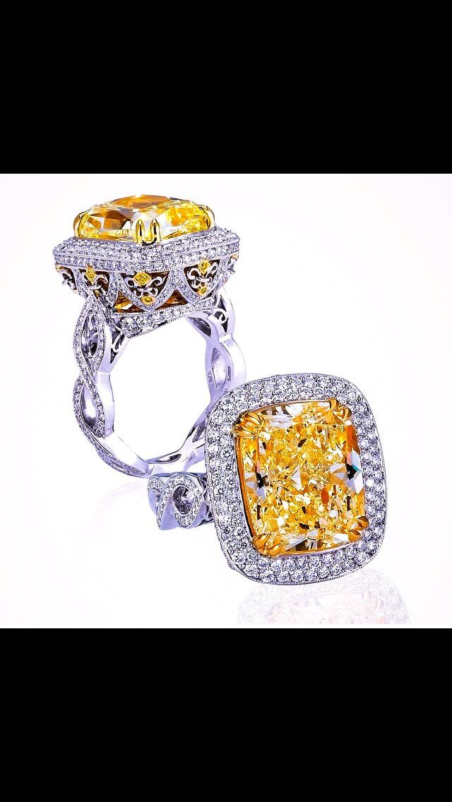 Fancy Yellow cushion diamond engagement