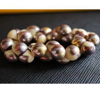 25pcs Czech Glass Mushroom Button Beads 9x8mm Opaque Ivory Capri Gold