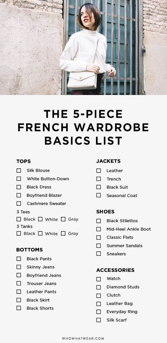 The secret to dressing like an effortless French girl—this list. These are the basics of every French girl wardrobe.