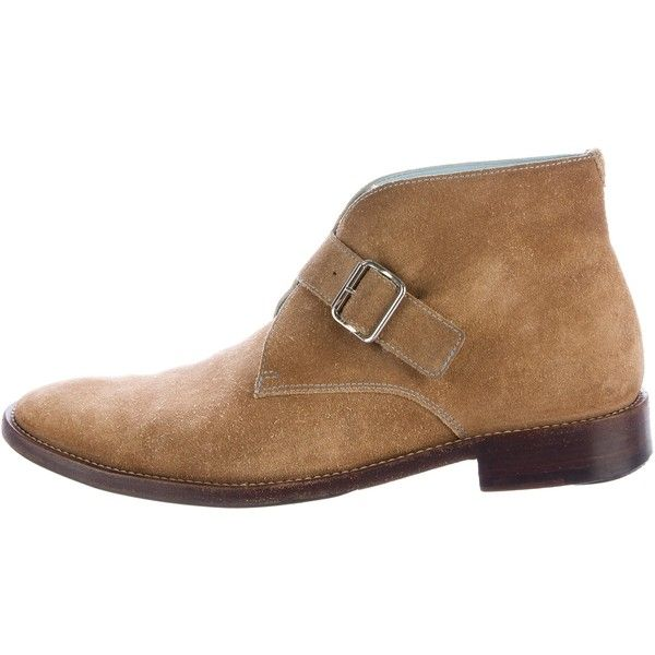 Pre-owned Lambertson Truex Monk Strap Desert Boots ($125) ❤ liked on Polyvore featuring men's fashion, men's shoes, men's boots, brown, mens brown suede boots, mens suede desert boots, mens brown monk strap shoes, mens shoes and mens boots