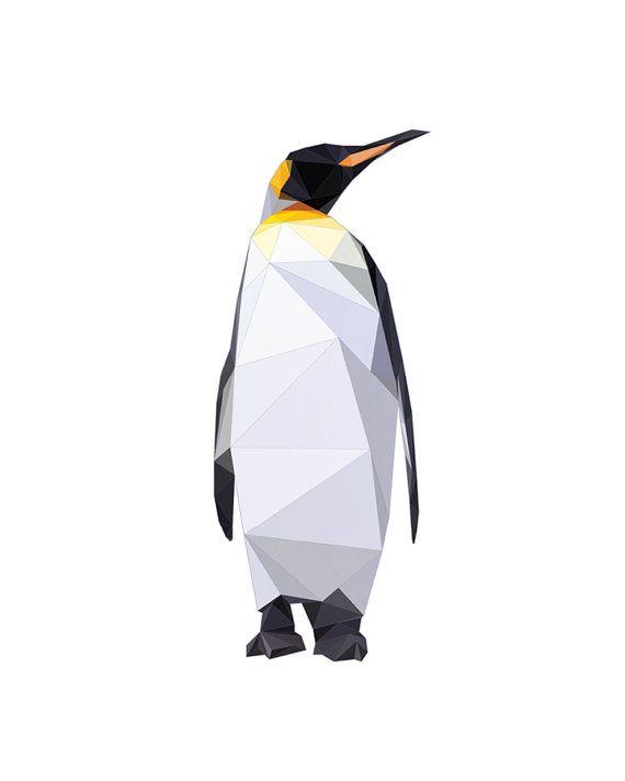 Penguin Geometric Print Polygon Bird by SunberryGraphics on Etsy