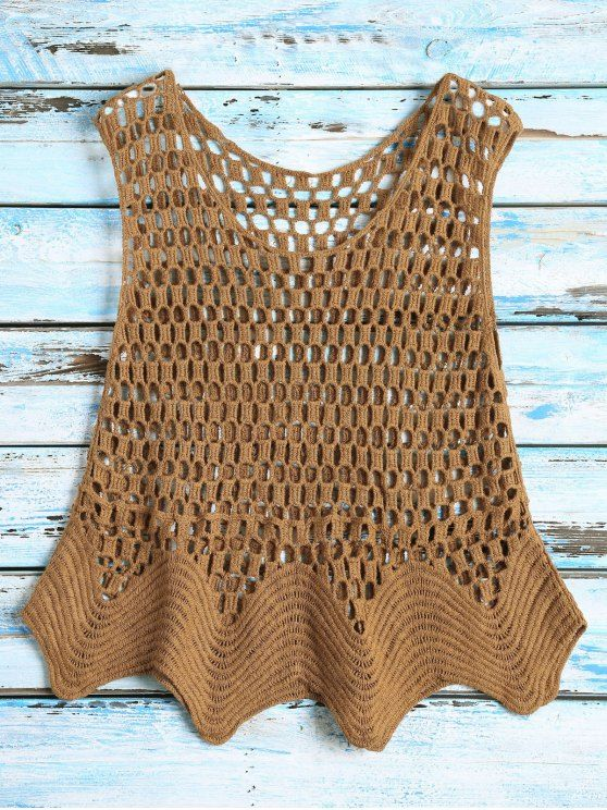 Crochet See Thru Tank Top - COFFEE ONE SIZE Mobile