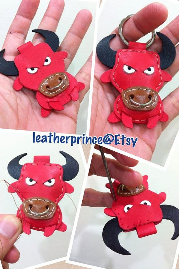leather Keychain  Paul the Bull Leather Charm  by leatherprince, $21.90