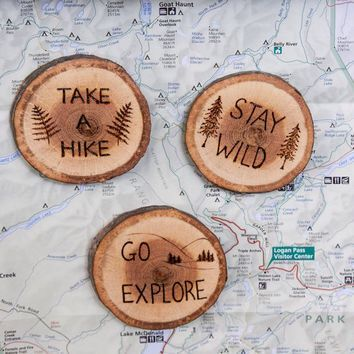 Outdoors inspired burned wooden coasters