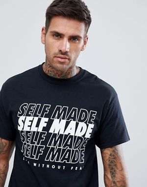 7c528871753c6 boohooMAN t-shirt with self made print in black   tshirt in 2019   T ...