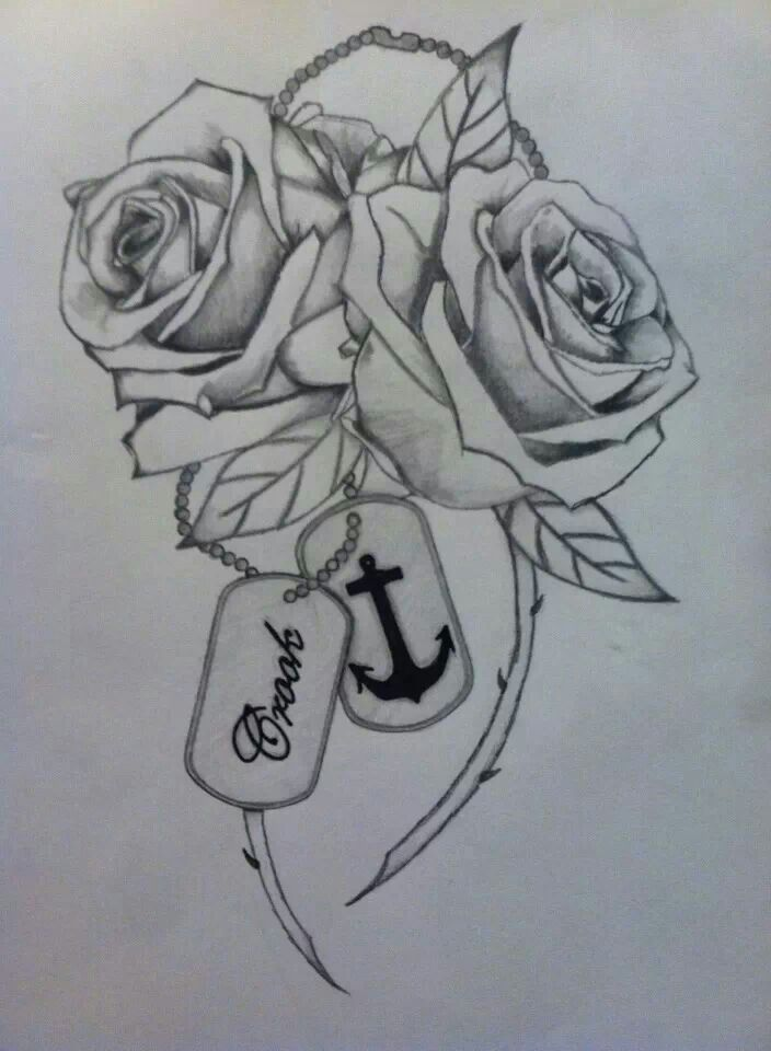My next tatt I drew myself. Two roses, one for me and one for my husband. Dog…