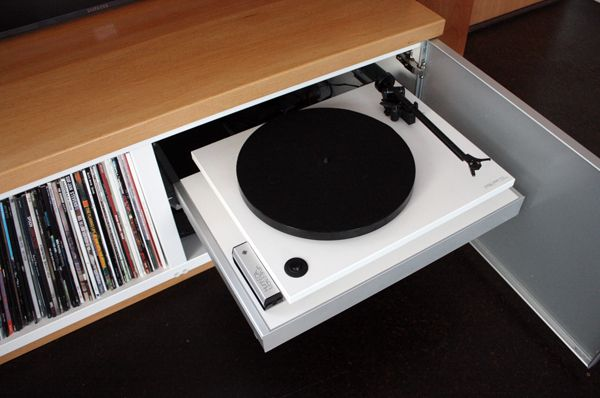Hidden turntable / record player using an Ikea pull-out Besta frame by Lauren & Kyle Zerbey
