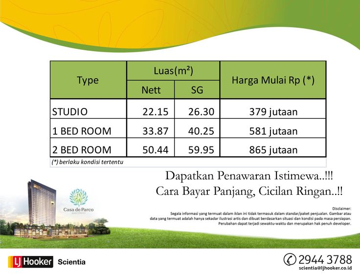 PRICE LIST - MAGNOLIA TOWER @ Casa de Parco Apartment, BSD City