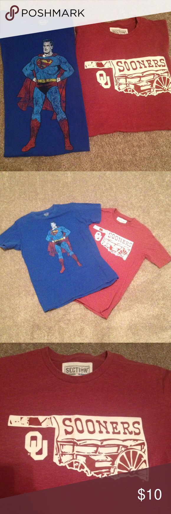 Lot 2 Adult Medium Vintage Retro Superhero Shirts Aight y'all,   What I have for sale here is two adult medium great looking vintage t-shirts.  1. Superman DC Comics Retro Looking Shirt 2. Oklahoma Sooners Football Fan Shirt  Both of these shirts are in great condition with no tears or stains anywhere on them.  Great items at a great price, holler if you got any questions.  - Hunter DC Comics Shirts Tees - Short Sleeve