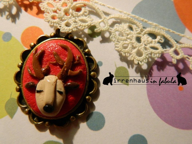 cameo deer - handmade with polymer clay