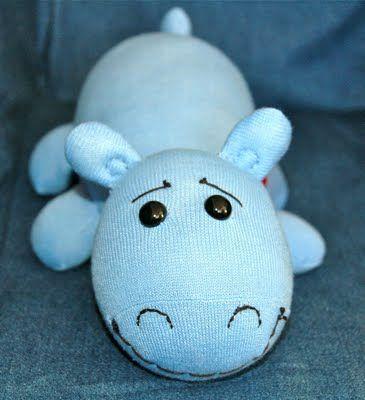 A very sweet sock animal hippo. Mama Mel Loves...: My Newest Sock Animal Creation!