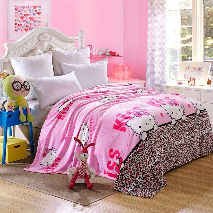 Kawaii Hello Kitty Blanket Cartoon Coral Fleece Blanket Throw on The Bed Sofa Travel for Adult/kids Twin Full Queen King Size
