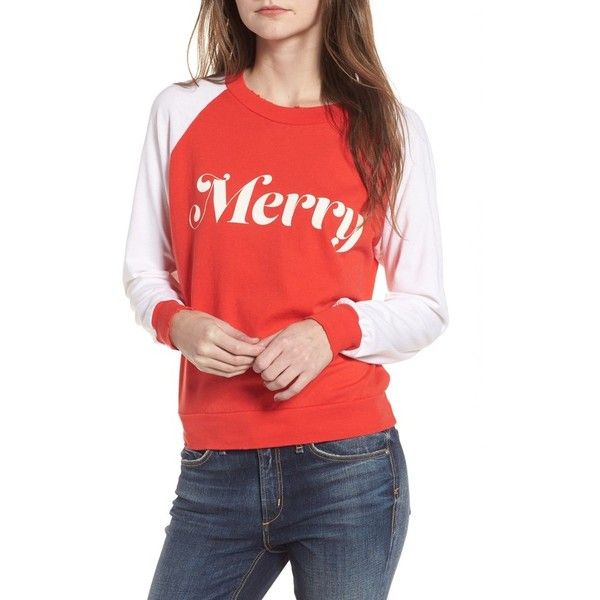 Women's Wildfox Merry Sweatshirt (€83) ❤ liked on Polyvore featuring tops, hoodies, sweatshirts, red line, retro tops, wildfox, special occasion tops, red top and wildfox sweatshirts