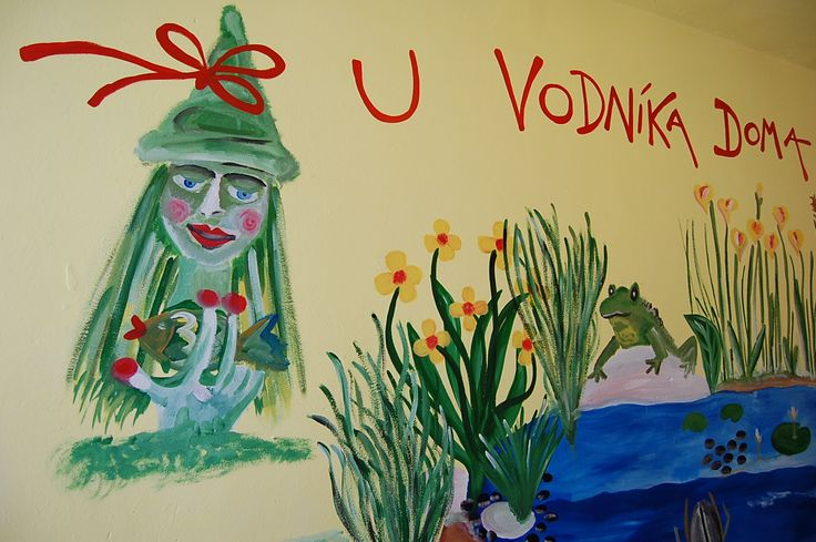 Painting on the wall. Environmental corner about water biotope in primary school.