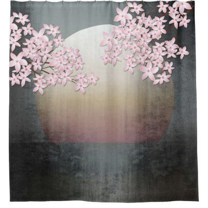 #Cherry Blossom Moon Design Asian shower curtain - #Bathroom #Accessories #home #living