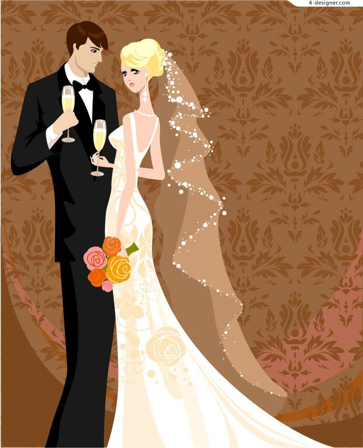 invitation wordings for wedding by bride and groom%0A Beautiful Bride and Groom Illustrator Vector Material