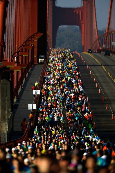 Runners cross the Golden Gate Bridge during the 2013 San Francisco Marathon and Half-Marathon