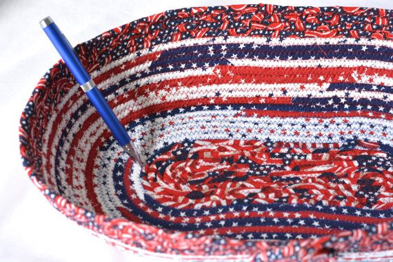 $28 Red White and Blue Basket #Handmade #Patriotic 4th of July Decor, Memorial Day Decor by #WexfordTreasures