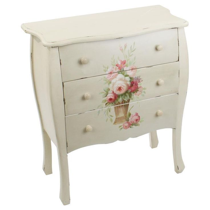 Wooden drawer in antique ivory with pink flowers