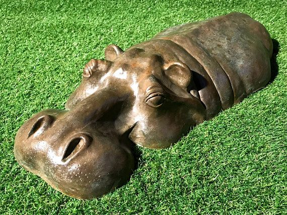 Hippopotamus Head Sculpture Birthday Gift Bronze Resin Hippo Garden Decor