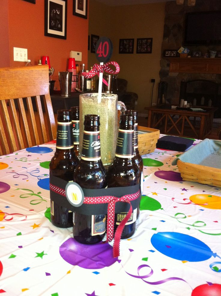 40th+birthday+centerpieces | Stamping With Lora Rampino: Manly centerpieces--BEER BOTTLES!!