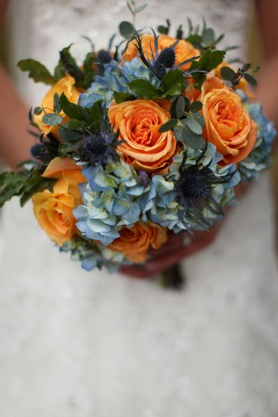 Blue Orange Bouquet Hydrangea Rose Wedding Flowers Photos & Pictures - WeddingWire.com