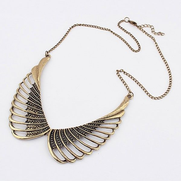 Dualshine Retro Coral Necklace Wings Shape Gold Plated Necklace Retro Jewellery