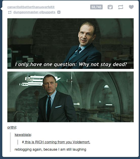 """""""This is rich, coming from you Voldemort."""" Hahaha"""