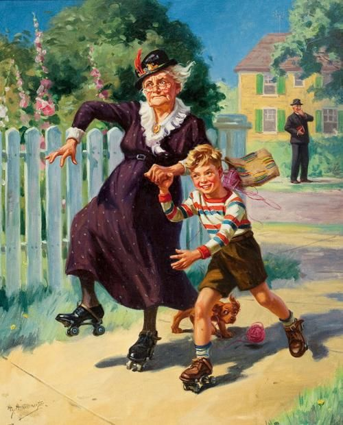 This reminds me of an episode of the Little Rascals. The one where the old lady roller skated all thru her house pulling down the drapes as she rolled wildly out of control!!! Illustrations by Henry Hintermeister | Illustrations Art