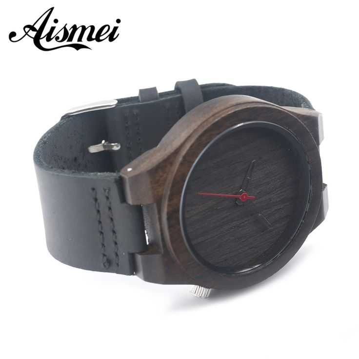 2016 Hot Marketing Mens Fashion black Leather Bamboo Wooden Watches Analog Quartz Wrist Watch with box-in Quartz Watches from Watches on Aliexpress.com | Alibaba Group