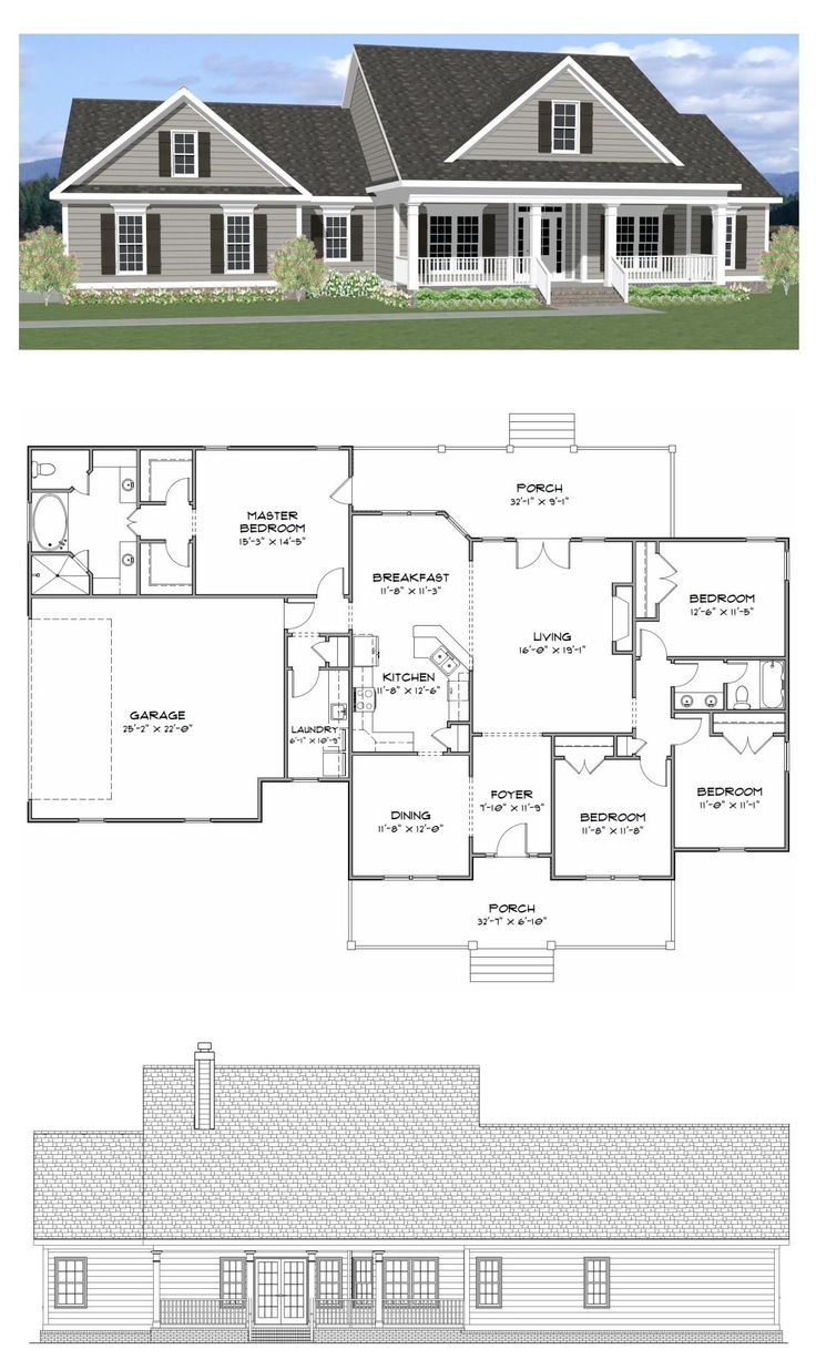 Plan SC 2081: ($750) 4 Bedroom 2 Bath Home With A Study