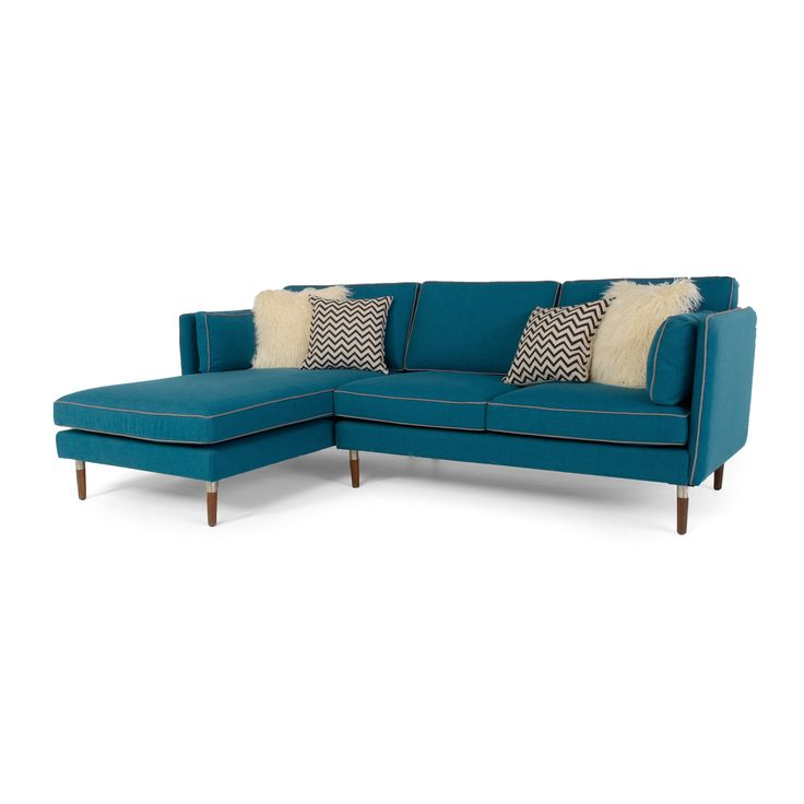 Florence Mid-Century Modern 2-piece Teal Blue Sofa Sectional By RST Brands  By The Curated Room | Teal Blue, Florence And Teal