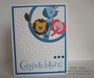 Sassy Salutations Punch Art Baby Animal Card, Decorative Dots Sale-A-Bration, Stampin' Up, Punch and Stamp with Goldie Shaul