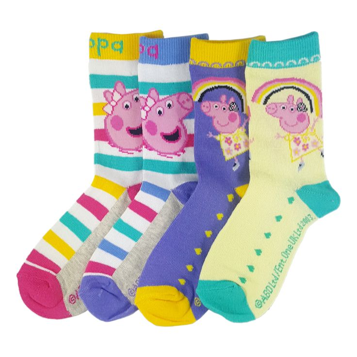 Join in with the Peppa Pig family wearing our cute multi-coloured bright kid's socks. Our child's Peppa Pig, socks are sold in quantities of three or four. #kids #socks #peppapig