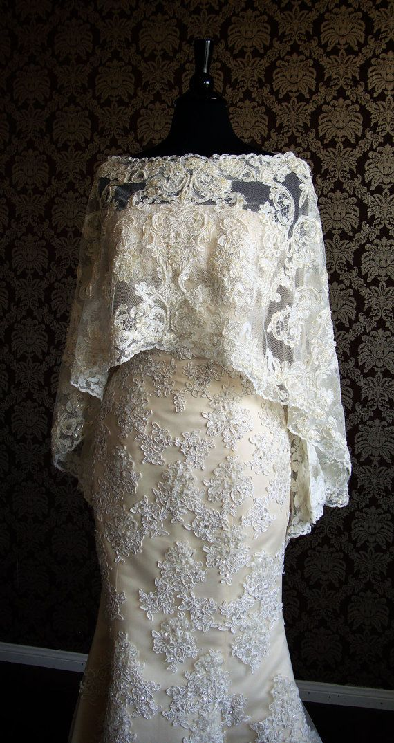 Luxury Long Bridal Caplet Beaded Lace Cape Boat by I heart Bride