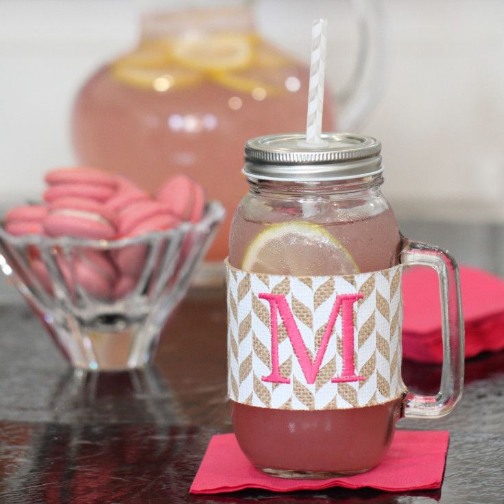 This super cute mason jar makes a great bridesmaid gift!  It's wrapped in a stylish burlap chevron sleeve and comes with a handle, lid and matching straw.