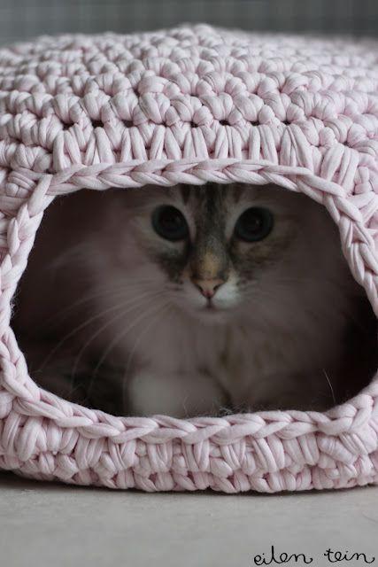 Cama Caverna Feira de Crochê Para Gatos - Idéias de Como Fazer.