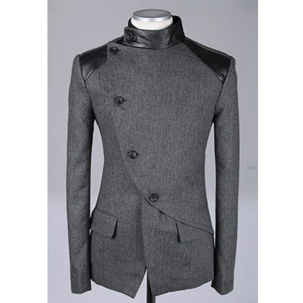 Men Fashion British Style Long Sleeve Slant Buttons Design Grey... ($54) via Polyvore