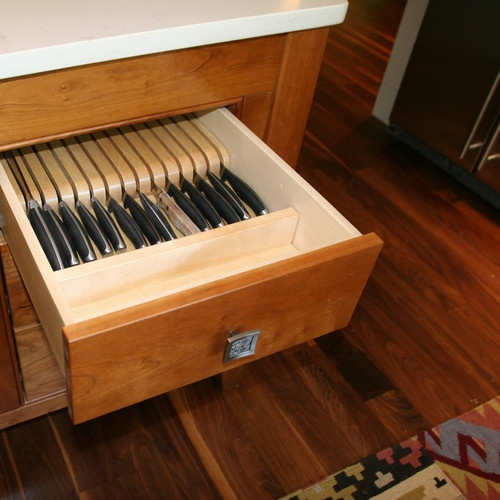 knife block drawer. perhaps not advisable for houses which children frequent