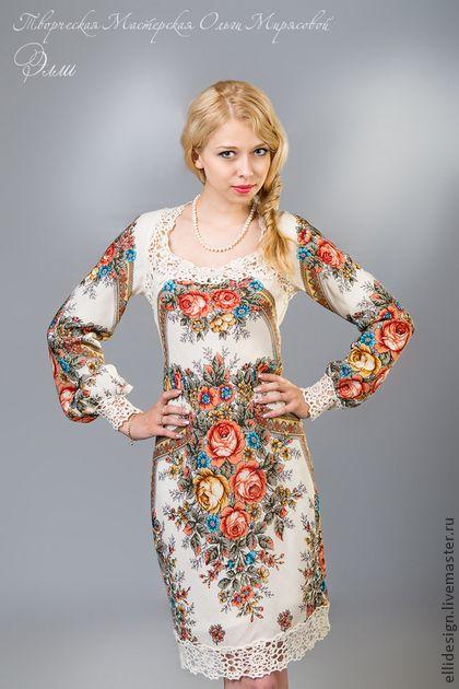 Платье `Фея Сказка`. Платье 'Фея Сказка' выполнено из Павловопосадского платка 'Аромат лета'. Декорировано нежным кружевом, связанным вручную из тончайшей шерсти.Это платье полностью передает всю красоту платка, элементы рисунка точно…