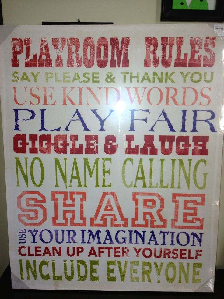 Playroom. Going to change this to Kitchen rules for the kitchen at school !